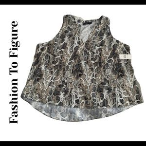 Fashion To Figure high low snake print top size 3